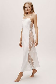 This luxurious nightgown features ultra-soft charmeuse with a subtle cowl neckline and sexy sheer lace side panels. Wedding Night Lingerie, Wedding Lingerie, Cute Sleepwear, Lingerie Sleepwear, Nightwear, Bridal Gowns, Wedding Gowns, Bridal Nightgown, Bhldn Wedding