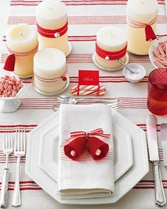 Christmas Decor: Additional ideas:peppermint stripes etc. for another tea another year.