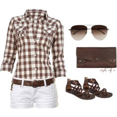 Brown checks w/white shorts, great sandals. Need summer NOW. (Summer Brown by styleofe on Polyvore)