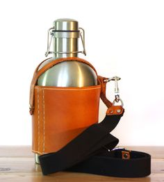 Stainless Steel Growler & Leather Growler Carrier With Strap by Pedal Happy on Scoutmob Shoppe