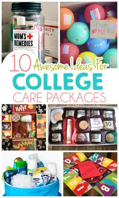 10 Awesome Ideas For College Care Packages ad college student tips college student 433330795390955140 College Gift Baskets, College Gifts, Grad Gifts, College Care Packages, College Gift Boxes, Care Package College, College Hacks, Diy Gifts, College Presents