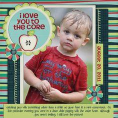 +pib I Love You To The Core - Scrapbook.com - Super layout. #scrapbooking #layout #digital