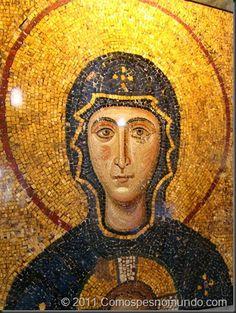Mosaico de Nossa Senhora na Basílica de Santa Sofia, Istambul.  imagem_da_vez - www.comospesnomundo.com