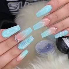 24 Fabulous Mismatched Blue Nail Art Design Part 20 Bling Acrylic Nails, Summer Acrylic Nails, Best Acrylic Nails, Coffin Nails, Nail Summer, Stiletto Nails, Nail Swag, Tiffany Blue Nails, Nagellack Design
