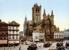 Korenmarkt met Sint-Niklaaskerk, Gent