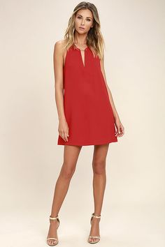 Lulus Exclusive! Wear the Near or Bar Red Shift Dress here, there, and everywhere in between! Lightweight woven fabric is perfectly breezy across a sleeveless bodice with a deep V-neck that is joined by a shiny gold bar. Side darting tops the shift silhouette. Back keyhole with top button.