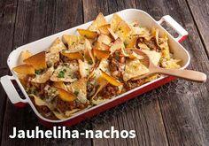 Jauheliha-nachos, Resepti: Valio #kauppahalli24 #ruokaa #jauheliha #nachos #texmex #valio #resepti Nachos, My Cookbook, Tex Mex, Potato Salad, Tapas, Food And Drink, Healthy Recipes, Healthy Food, Meat