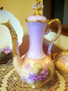 Limoges Hand Painted Violet Tea Coffee Pot/Creamer/Sugar Bowl Plate Set,Artist Signed