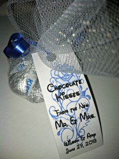 Our wedding favors! Jones Jones Sinning made the tags with Disney font (since our wedding had a bit of a Disney theme! Disney Wedding Favors, Food Wedding Favors, Homemade Wedding Favors, Creative Wedding Favors, Inexpensive Wedding Favors, Elegant Wedding Favors, Wedding Shower Favors, Wedding Favors For Guests, Our Wedding