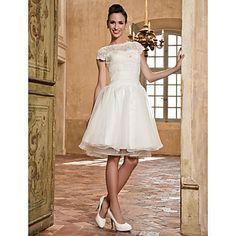 A-line Bateau Organza And Lace Wedding Dress  – USD $ 199.99