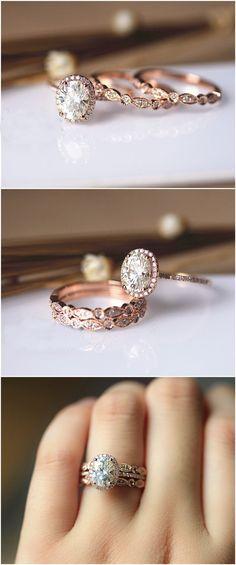Oval Brilliant Moissanite Ring Set Wedding Ring Set Solid 14K Rose Gold Ring Set. http://jangmijewelry.com/