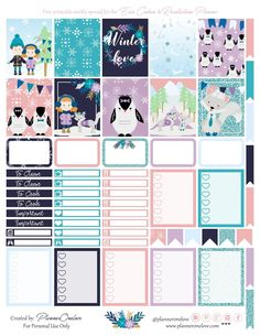 Free Printable Winter Love Planner Stickers from Planner OneLove