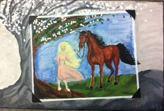 """Kersti Muzaffar's painting of """"Girl and Horse, 1928,"""" published on Comics in Education (www.comicsineducation.com)"""