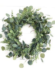 Spring Wreath, Mixed Eucalyptus Wreath, Greenery Wreath, Everyday Wreath, Farmhouse Wreath for Front Door Front Door Decor, Wreaths For Front Door, Easter Wreaths, Holiday Wreaths, Corona Floral, Diy Wreath, Burlap Wreaths, Wreath Ideas, Mesh Wreaths