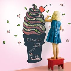 This iconic ice cream cone vinyl chalkboard wall decal is spacious enough to satisfy a chalk-art craving and sweet enough to inspire the joy only July can bring