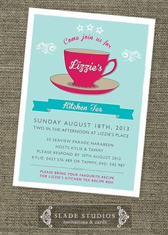 Retro Kitchen Tea 'Tea cup' shower invitations by SladeStudios, $20.00