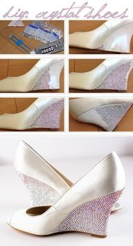 How-to Apply Swarovski Crystal / Rhinestone onto Shoes (Heels, Wedges) A Little Weekend DIY: Bedazzled Shoes There was such an overwhelmingly positive response and requests for a how-to on my Swarovski-bedazzled wedding Crystal Shoes, Crystal Rhinestone, Rhinestone Shoes, Embellished Shoes, Diy Crystals, Swarovski Crystals, Shoe Makeover, Do It Yourself Fashion, Diy Couture