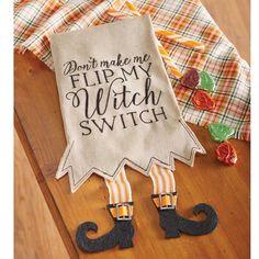 Mud Pie MH6 Holiday Halloween Kitchen Linen Witch Switch Legs Tea Towel 4405176 in | eBay