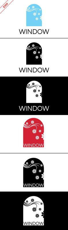 $369 Window logo / floral logo. This design will be customized with your brand name and color preferences. Businesses: Cleaning service company, architecture firm, renovation company, window company, glass company, flower shop, gardener, real estate agency, furniture store, interior designer, home accessories store, home decor store, property management company, housing firm, DIY store, arts & crafts supply store, hotel, soap shop, spa.