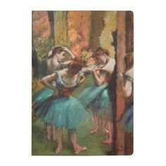 """This elegant lined notebook features one of Edgar Degas iconic paintings of ballerinas, """"Dancers, Pink and Green"""" ca. 1890. Perfect for lovers of art or stationery."""