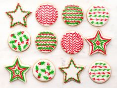 Sugar Cookies with Royal Icing : Start with Food Network Magazine's basic sugar cookies and basic royal icing. Wait until the cookies have cooled completely before decorating, and cover the icing with a damp paper towel and plastic wrap until ready to use, to prevent the icing from drying out. Photographs by Andrew Purcell