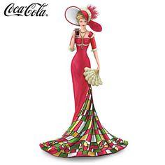 COCA-COLA® girl in golden-edged ruffled gown holding Coke® glass #ArtOfGiving #Christmas
