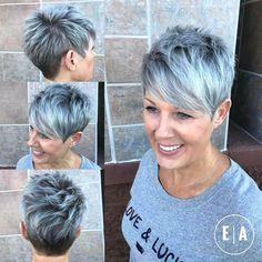 Spiky Gray Balayage Pixie For Women Over 50 - Kurzhaarfrisuren Grey Balayage, Hair Color Balayage, Hair Highlights, Short Pixie Haircuts, Short Hairstyles For Women, Grey Haircuts, Classy Hairstyles, Hairstyles 2018, Haircut Short