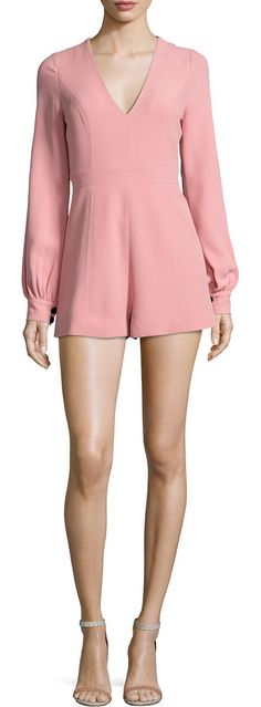 """Kourtney long-sleeve romper by Alexis. Alexis """"Kourtney"""" romper in crepe. V neckline. Long bishop sleeves. Princess seams. Slim fit through bodice. Relaxed ..."""