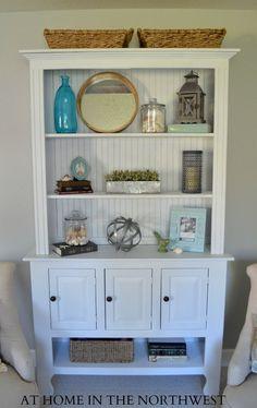 Beadboard in back Small Bookshelf, Bookshelves, Bookcase, Mantle, Bathroom Medicine Cabinet, Shelving, Family Room, Interior Design, House
