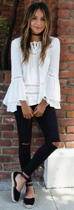 White Boho Blouse + Black Ripped Denim                                                                             Source