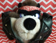 "VTG Taz Plush 10"" Tasmanian Devil Looney Tunes Leather Jacket Bandana Item #1648 #WarnerBros"