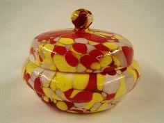 Czech Art Glass Puff Box - Saturday Feb 28 Antique / Estate Auction - Raleigh Auction & Estate Sales.