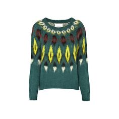 SAMSOE & SAMSOE Jane Sweater (£119) ❤ liked on Polyvore featuring tops, sweaters, green, long sleeve sweaters, long sleeve tops, samsøe & samsøe, green top and diamond pattern sweater