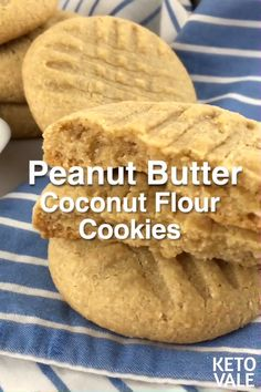 Here's an easy low-carb, sugar-free, gluten-free and keto-friendly peanut butter. - Here's an easy low-carb, sugar-free, gluten-free and keto-friendly peanut butter cookies recipe y - Keto Cookies, Coconut Flour Cookies, Keto Peanut Butter Cookies, Coconut Peanut Butter, No Flour Cookies, Sugar Free Cookies, Chip Cookies, Easy Peanut Butter Recipes, Easy Gluten Free Cookies