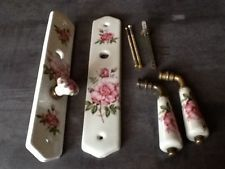 Attrayant Ancienne Et Très Belle Poignée De Porte Porcelaine JM Limoges , Modèle Fleur