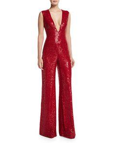 Sleeveless V-Neck Sequin Jumpsuit, Red by Naeem Khan at Bergdorf Goodman.