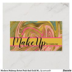 Modern Makeup Artist Pink And Gold Marble Business Card Makeup Artist Logo, Makeup Artist Business Cards, Unique Business Cards, Business Card Logo, Artist Quotes Funny, Instagram Makeup Artist, Modern Nails, Gold Marble, Pink And Gold