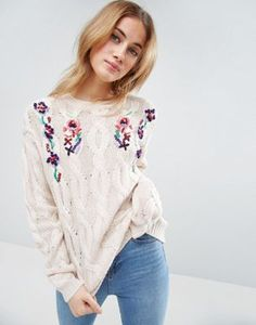 ASOS Sweater with Floral Embroidery