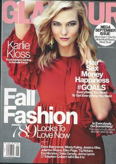 Glamour magazine Karlie Kloss Fall fashion Women and drugs Mindy Kaling Hair