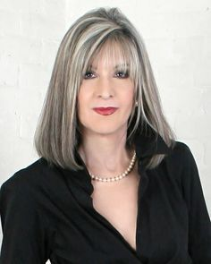 hair highlights classy The Silver Fox: Stunning Gray Hair Styles Reporter and mystery novelist Long Gray Hair, Silver Grey Hair, Grey Hair With Bangs, Grey Hair Over 50, Dark Hair, Hairstyles Over 50, Bob Hairstyles, Wedding Hairstyles, Medium Hair Styles
