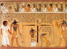 Egyptian book of the dead, soul being led to judgement by Anubis. The heart is weighed against the feather of truth.... riiiiight