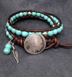 Turquoise Leather Wrap Bracelet, Bohemian Jewelry, Women's Leather Wrap Bracelet, Southwestern Native American Indian Head Jewellry by KarenMSmithDesigns on Etsy