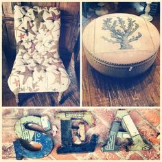 Upholstered chair and coral ottoman