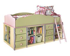 Doll House Twin Loft Bed with Bin Storage and 2 Drawers View 0