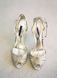 Glittery gold Ralph Lauren wedding shoes: http://www.stylemepretty.com/2015/11/16/fall-beaulieu-gardens-wedding/ | Photography: Jose Villa - http://josevilla.com/