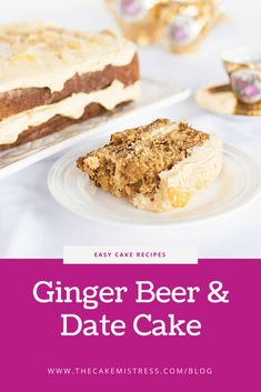 A delightful ginger cake made with real ginger beer, candied ginger, and pureed dates. A brown sugar cream cheese frosting complements the cake perfectly. #baking #cake #ginger #date