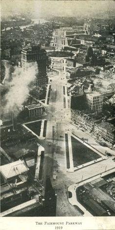 Benjamin Franklin Parkway (then called Fairmount Parkway), Philadelphia, 1919