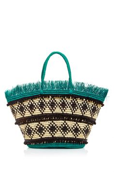 Frayed Top Tote Bag With Cotton Pompom Detail by SENSI STUDIO Now Available on Moda Operandi