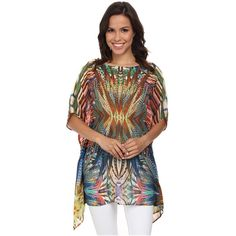 KAS New York Ama Blouse Women's Blouse, Multi ($43) ❤ liked on Polyvore featuring tops, blouses, multi, tunic style tops, pattern tops, kas new york, drape top and draped blouse