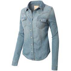 LE3NO Womens Vintage Button Down Denim Shirt ($22) ❤ liked on Polyvore featuring tops, button down tops, blue shirt, denim button down shirt, denim button down top and blue top